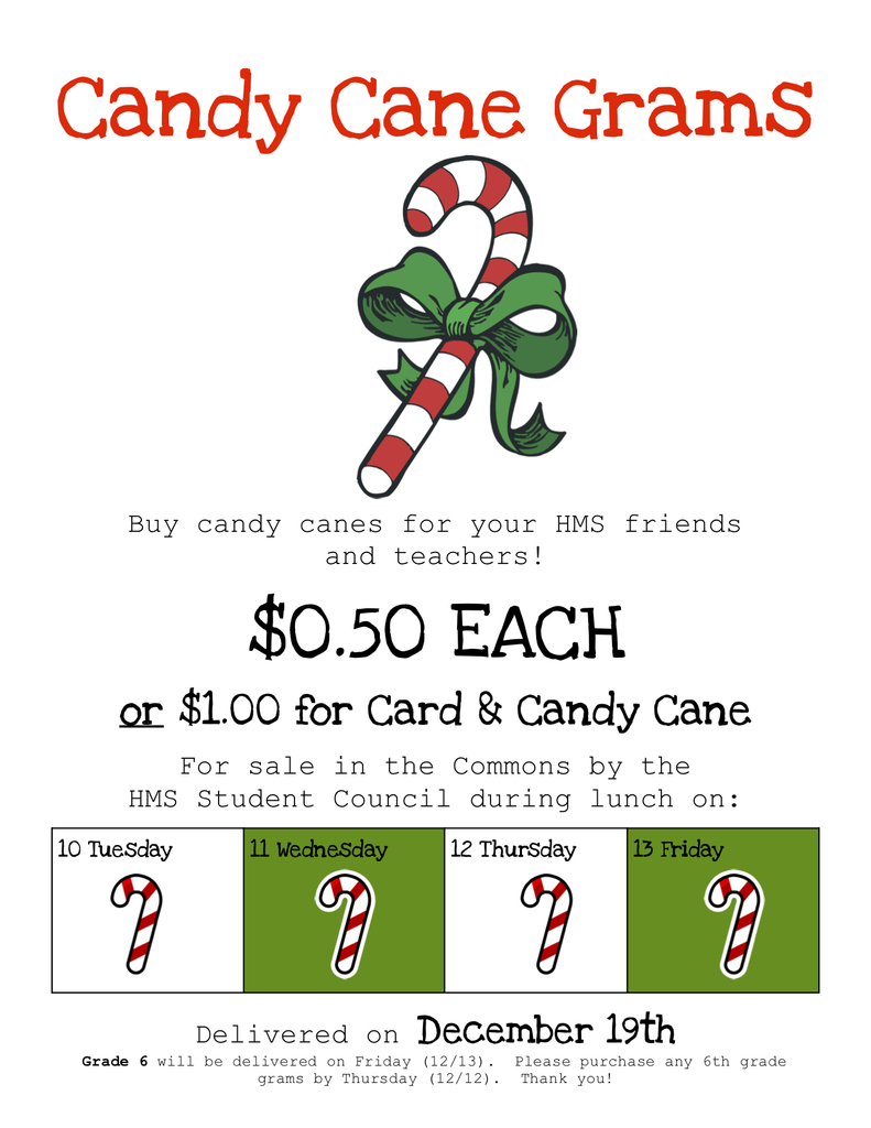 Candy Cane Gram Sales